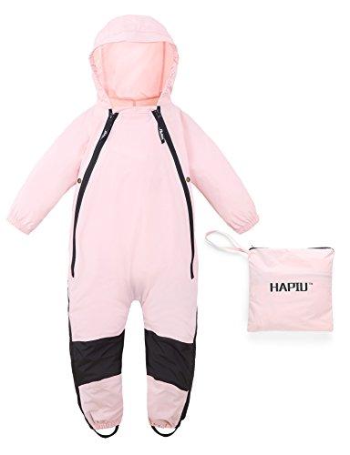 HAPIU Kids Toddler Rain Suit Muddy Buddy Waterproof Coverall,Pink,3T,Original