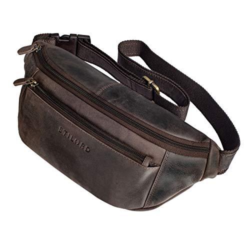 STILORD \'Bryce\' Bauchtasche Leder Gürteltasche Damen Herren Vintage Hüfttasche Reisetasche Urlaub Jogging Festival Echtleder, Farbe:dunkel - braun