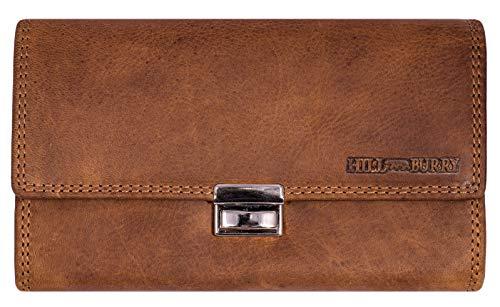 Hill Burry Leder Kellnerbörse | Profi Kellner Geldbörse aus hochwertigem echtem Leder | Taxibörse - Portemonnaie (Braun)