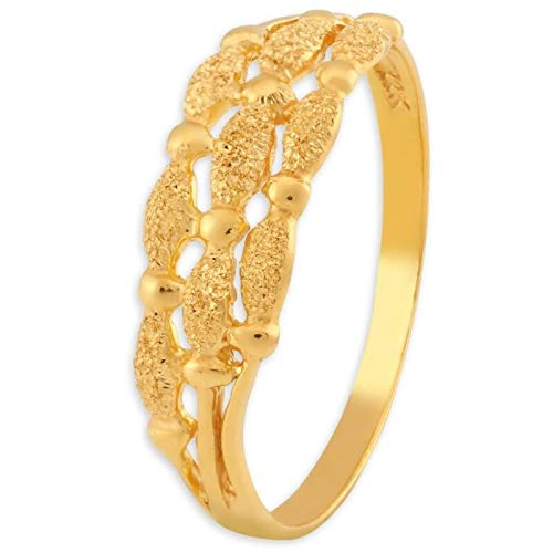 Certified Solid 22K Yellow Fine Gold Carved Design Ladies Finger Ring