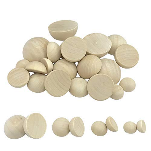 180Pcs Natural Half Wooden Balls for DIY Craft Projects Making Art Design