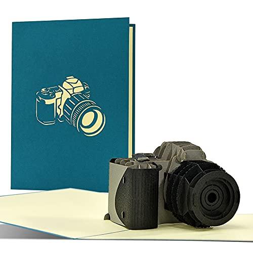 Gutschein für Kamera, Fotoapparat | Tolle 3D Pop up Geburtstagskarte oder Glückwunschkarte für Fotografen | Geschenkgutschein für Fotoshooting, Fotoworkshop, T23