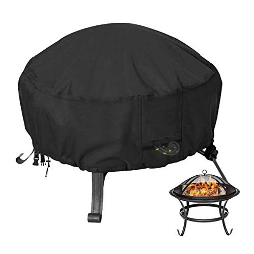 CYTHERIA FIRE PIT 커버 교체 그릇 라운드 420D 벽난로 커버 헤비 듀티 야외 파티오 블랙 36 X 22 인치 슈퍼 방수 내후성 방진 방지 안티 - 바람 및 스토리지 가방