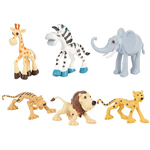Asixxsix Juego de Juguetes de Animales para niños, 6 Piezas no tóxicas/Juego de Mano de Obra Fina, Juego de Juguetes de Animales adorables duraderos, para niños(6 Cartoon Animals)