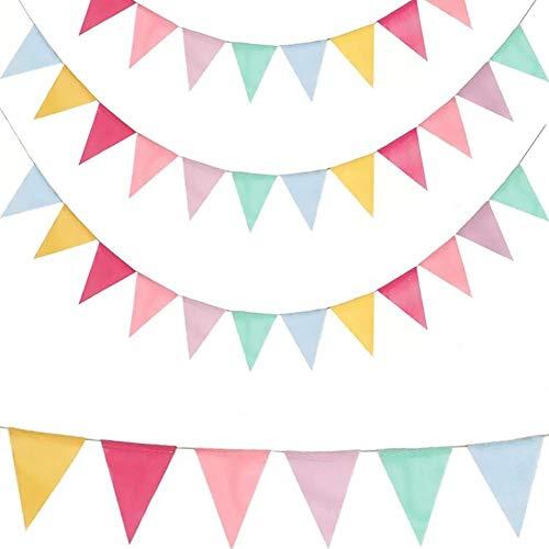 Guirnalda Bandera Banderínes, 4Pcs Banderines Yute de Color Bunting Banner Pancarta Triángulo decoración para Fiesta Cumpleaños y Baby Shower 4.2m (4 Cadenas * 12 Banderas)