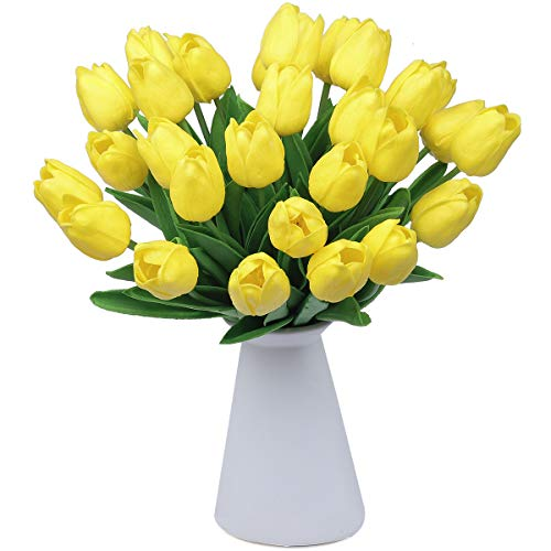 CountryGrass 24pcs Artificial Tulip Flowers Real Touch PU Tulips Floral Arrangement Yellow White Pink 14' for Wedding Home Centerpiece Decoration Hotel,Party Decoration (Yellow)