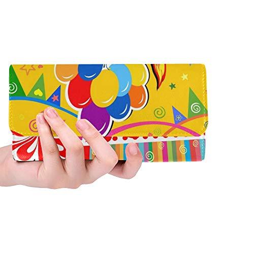 Einzigartige benutzerdefinierte Geburtstagskarte Feier gelb Geschenk Frauen Trifold Wallet Lange Geldbörse Kreditkarteninhaber Fall Handtasche