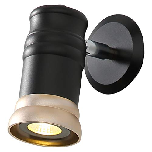 Creative Noir + Or Design En Aluminium Luminaire Applique Murale Lampe Murale Réglable Têtes De Lumière Lampe De Chevet Chambre E27 Industriel Applique Murale Salon Étude Couloir Lampe LED 7W