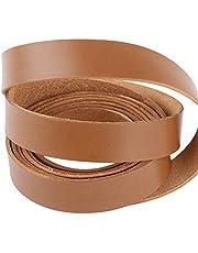 2Metros Cinta de Cuero Auténtico Ancho 2cm Correa de Piel Plana Banda Tira para Manualidades Bolso Color Marrón Claro