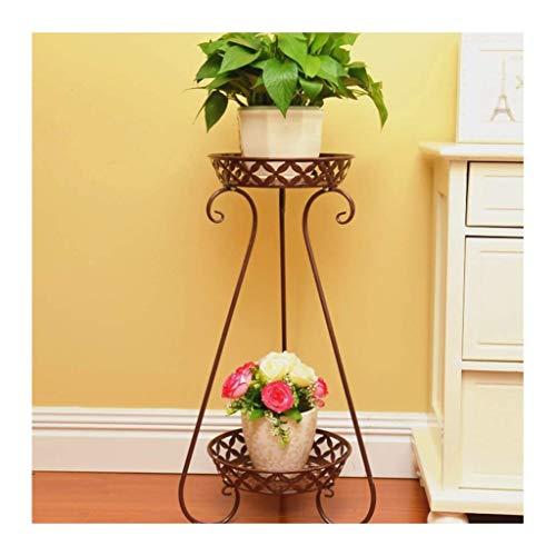 Soporte para plantas en macetas de metal de 2 niveles estante decorativo para macetas a prueba de herrumbre con soportes para macetas de hierro para interiores y exteriores contenedores para macetas