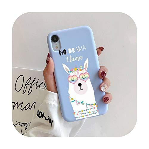 Llama Alpaca patrón teléfono caso para iPhone 11 Pro Max X XS Max XR Candy Color suave cubierta para iPhone 7 8 6 6S Plus Funda Cases-a11-Para iPhoneX o XS