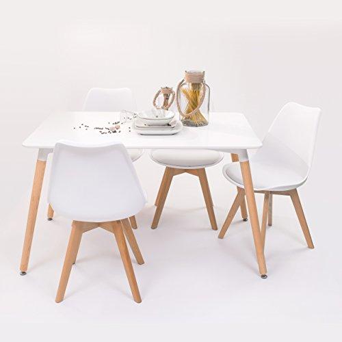 Conjunto de Comedor Tower Day 120 con Mesa lacada Blanca de 120x80 cm y 4 sillas Day (Blanco)