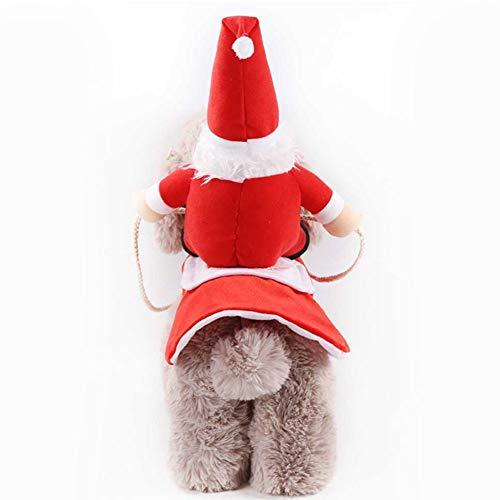 DishyKooker Weihnachtskostüm für Haustiere, für kleine und mittelgroße Hunde, Golden Retriever, Katze, Herbst/Winter, rot, M