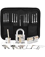 Lock picks, 24 Piezas Ganzúas de Cerrajería con 3 Candados Transparentes para Prácticas,Juego De Ganzuas de Extracción para Principiantes y Cerrajeros Profesionales