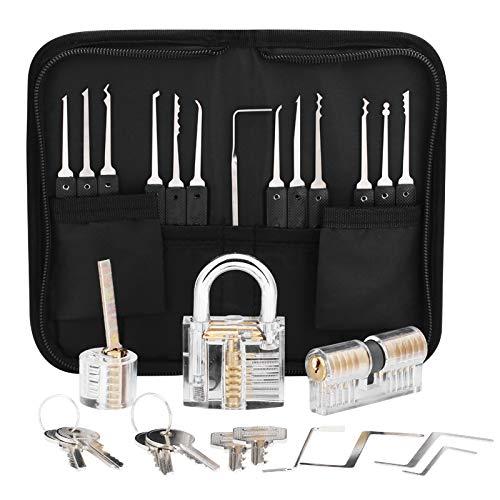 Dietrich Set, 24 Stück Lock Picking Set mit 3 Transparenttem Vorhängeschloss Dietrichen Kit für Anfänger und Professionelle Lockpicker
