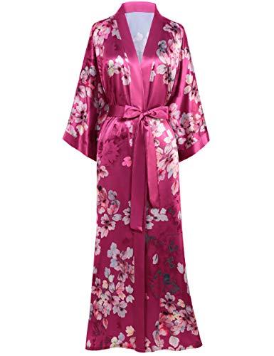 BABEYOND Long Print Kimono Robe Blouse Kimono Cover Up Loose Cardigen Top Outwear (Leaf-Winered)