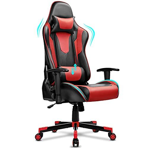 BASETBL Gaming Stuhl, Ergonomischer Gaming Sessel, PC Gamer Racing Stuhl Verstellbare Armlehne Bürostuhl Gaming Stuhl, bis 150 kg belastbar, Schwarz-Rot
