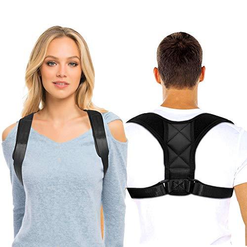 Fithil Corrector de Postura para Espalda Recta, Cuello y Hombros, Soporte Columna Cervical para Mujer y Hombre, Faja Lumbar Comoda sin Dolor para Oficina, Casa y Deporte (M / 65-105cm)