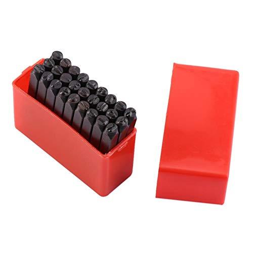 VIFERR Timbre en Métal, 4 mm Lettres Craft A-Z Poinçon Timbres Jeu d'outils en Acier au Carbone à Haute Kit pour Métal, Haute Teneur en Carbone Métal + Case