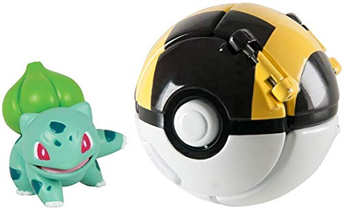 su ma Poké Bolas Pokéball, Pokemon Figuras with Throw Pop Poké Ball Toy Set para Niños y Adultos Celebración de Fiestas Divertido Juego de Juguete de Regalo (Bulbasaur)