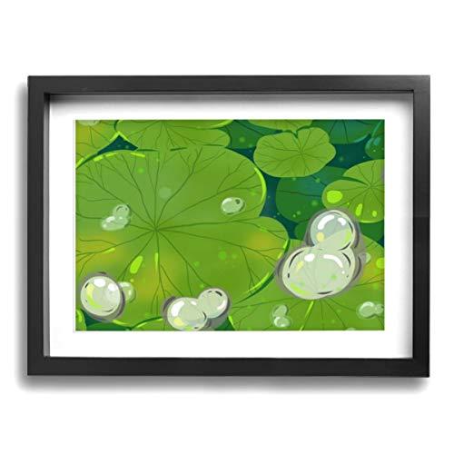 アートパネル アートフレーム 壁アート 壁飾り 木枠付けインテリアアートキャンバス絵画 白い四つ葉のクローバーの水滴 壁画 壁掛け インナーフレーム 装飾画 インテリア の装飾 軽くて取り付けやすい おしゃれ プレゼント