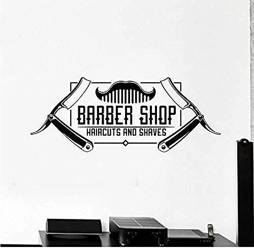 Pared Corte de pelo para hombres with apliques de vinilo barbería with apliques de vinilo de decoración de ventanas pegatinas murales impermeables arte 57X23cm
