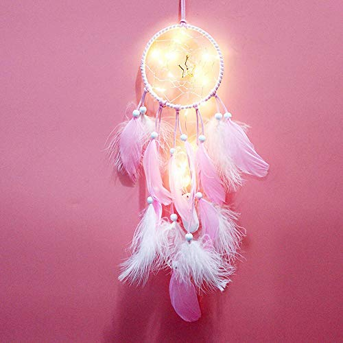 Rails Little Star Hand Made Dream Catcher Pink Large Dream Catcher Wall Hanging LED Handmade Dream Catcher Boho for Bedroom Wedding Home Wall Hanging Decorations Ornaments Craft,4.29x21.45in