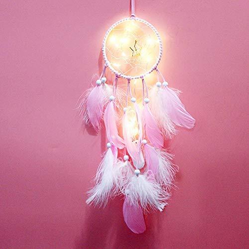 Pequeña Estrella Atrapasuenos para Habitacion Rosado Atrapa Suenos Luz LED Hecho a Mano Atrapasuenos Tradicional para Niños Adornos Hechos A Mano Campanas De Viento Atrapasueños De Estilo Indio,11x5