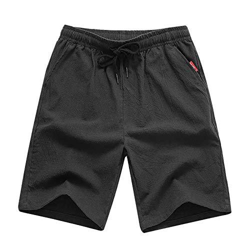 Pantalones cortos de algodón de lino de moda de ajuste clásico cintura elástica pantalones cortos de playa con cordón