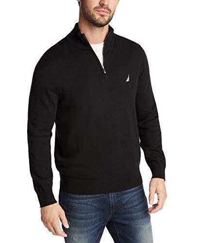 Nautica Men's Navtech Quarter-Zip Sweater, True Black, Medium