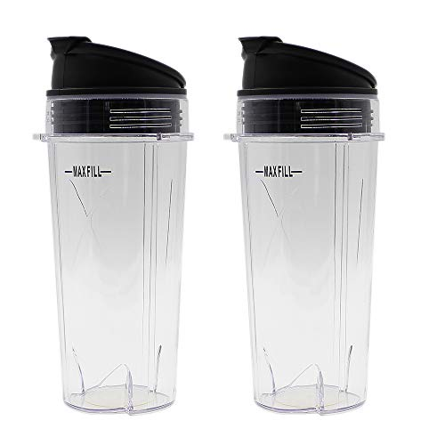 Anbige Replacement Parts 3 tabs cups intended for Nutri Ninja Blender, 2 Pack 16-ounce Single Serve Cup and Sip&Seal Lid Fit Ninja BL200 30/ BL201 30/BL201C 30/BL203QBK/BL100