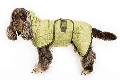 SICCARO Wetdog Classic Bamboo Trockenmantel Hundemantel Wintermantel Regenmantel extrem saugfähig antibakteriell geruchsreduzierend professionell. Die effizienteste Lösung für nasse Hunde, zieht 80 Prozent der Feuchtigkeit in 10 Minuten aus dem Fell (classic / Bambus, M 38-47cm)