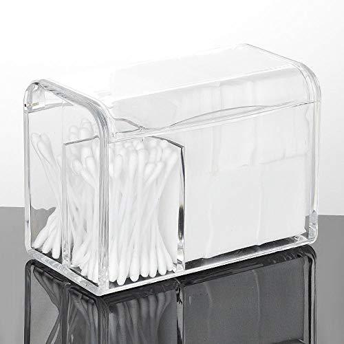 Organizador De Maquillaje Caja Algodón Cosmético Caja De Hisopo De Algodón Con Tapa Caja De Soplo De Polvo Escritorio Con Tapa A Prueba De Polvo-Caja De Hisopo De Algodón Transparente Con Tapa