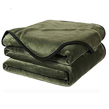 EASELAND Soft King Size Blanket All Season Warm Microplush Lightweight Thermal Fleece Blankets for Couch Bed Sofa,90x108 Inches,Olive Green
