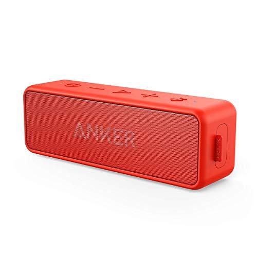 Anker SoundCore 2 Bluetooth Lautsprecher mit Dual-Treiber besserem Bass, 24 St. Spielzeit, 20 M Reichweite, IPX5 Wasserfest mit Eingebauten Mikrofon (Rot)(Zertifiziert generalüberholt)Â.