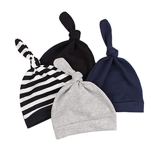 JANGANNSA Cotton Newborn Baby Beanie Hat Adjustable Knot Newborn Hat for Boys Girls 0-6 Months(4-Pack) (A)