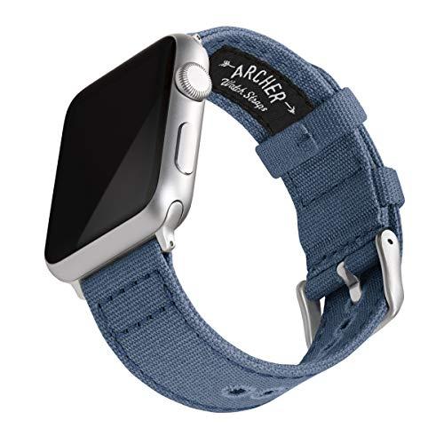 Archer Watch Straps - Canvas Uhrenarmband für Apple Watch (Jeansblau, Silber, 38/40mm)