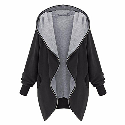 BININBOX® Damen Full Zipper vergrößern Oversized Jacke Hoodie Parka Kapuzenjacke in 2 Farbe (Deutsche Gr.L/Hersteller Gr.2XL, schwarz)