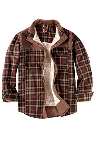 Mr.Stream Camicia da Uomo in Stile Casual da Boscaiolo Plaid Flanella A Quadri Camicia Imbottita da Lavoro di Cotone Cappotto Invernale L Coffee