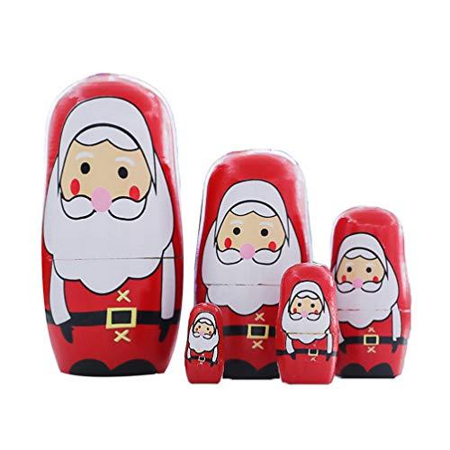 Amosfun 5 Stücke Holz Matroschka Weihnachtsmann Figur Matryoshka Matrjoschka Russische Puppen Spielzeug Nikolaus Dekofigur Holzfiguren Tortenfigur für Baby Kinder Weihnachten Geschenk