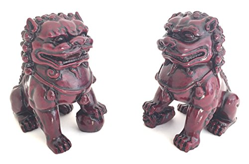 OMA Guardian Lion Fu Foo Dogs Statues for Protection & Luck Feng Shui Home Decor Brand (4.5 - inch)