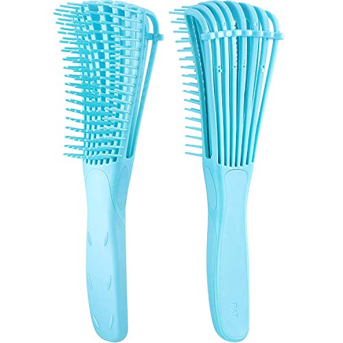 2 Pack Detangling Brush for Curly Hair, ez detangler brush Hair Detangler, Afro Textured 3a to 4c Kinky Wavy for Wet/ Dry/ Long Thick Curly Hair, Exfoliating for Shiny Curls (Blue)