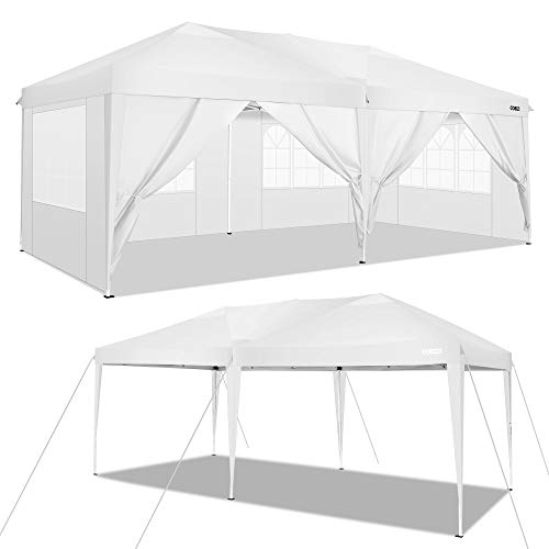 COBIZI Pavillon 3 x 6 WASSERDICHT, Pavillon inkl. Tasche wasserabweisend höhenverstellbar faltbar Pop-up Gartenzelt Partyzelt (3 x 6 m + 6 Seitenteilen, Weiß)