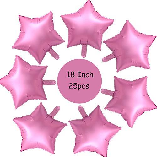 18 Zoll Stern Folienballon, 25 Stück Stern Rosa Luftballons Sternluftballons Heliumballon Folienluftballon Ballone für Geburtstag, Hochzeit, Valentinstag, Weihnachtsfeierdekoration (Rosa)