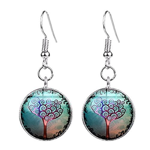 Pendientes de gota de árbol de la vida vintage colorido árbol vivo mandala arte patrón cristal redondo pendientes colgantes para mujer joyería