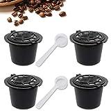 SIMUER Compatible con cafetera Nespresso Cápsulas Negro 4 Filtros Piezas Reutilizable Recargable de Café de la Cápsula con...