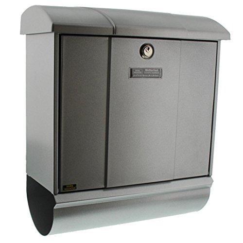 Burg-Wächter Briefkasten-Set mit integriertem Zeitungsfach, A4 Einwurf-Format, EU Norm EN 13724, Verzinkter Stahl, Olymp-Set 91600 Si, Silber