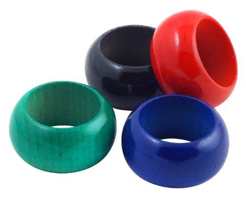 Metaltex Juego 4 SERVILLETEROS Madera, Colores Variados, Estandar