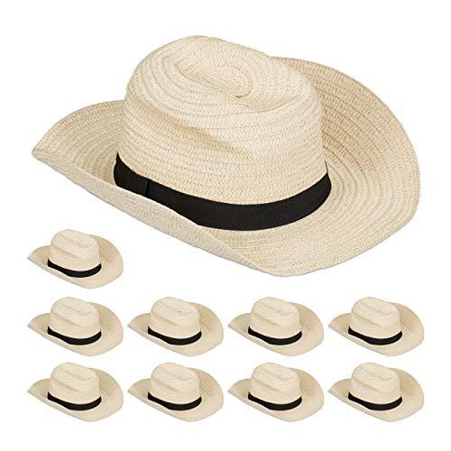 Relaxdays 10 x Panamahut, Cooler Strohhut im Mafia Look, Damen & Herren, Fasching, Bogart Hut mit schwarzem Stoffband, beige