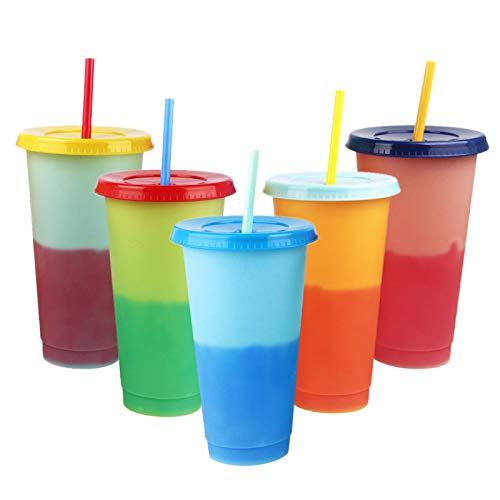 Vasos Plastico de Colores Vaso de Plástico de PP Vasos Reutilizables en 5Colores Vasos plástico Reutilizables con Tapa y...